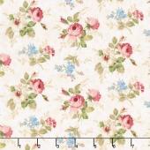 Vintage Rose - Medium Floral Cream Yardage