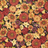 Autumn Time - Autumn Floral Black Yardage