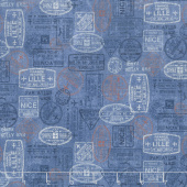 Paris, Always a Good Idea - Paris Travel Stamps Blue Yardage