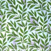 Peony Passion - Leaves Blue Green Yardage
