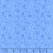 Beary Happy - Celebrating 50 Colorful Years with Brown Bear! Bear Doodle Blue Yardage