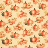 Autumn Elegance - Pumpkins Bisque Metallic Yardage