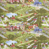 Country Paradise - Scenic Allover Green Yardage