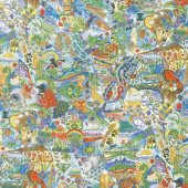 Animal Spirits - Animals Multi Blue Digitally Printed Yardage