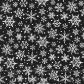Christmas Traditions - Snowflakes Black Yardage
