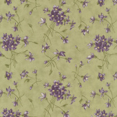 Sweet Violet - Violet Spray Leaf Yardage