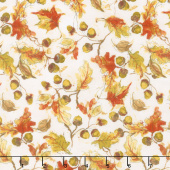 Forest Dance - Tossed Leaves Light Cream Yardage