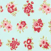 Little Snippets - Marmalade Floral Aqua Yardage