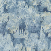 Icicle Batiks - Deer Grouping Pewter Yardage