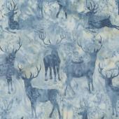 Icicle Batiks - Deer Grouping Pewter Yardage