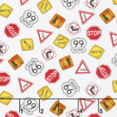 My Favorite Trucks - Traffic Signs White Yardage