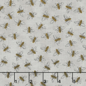 Bee Grateful - Buzz Pebble Grey Yardage