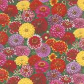 Flowers - Zinnia Packed Multi Yardage