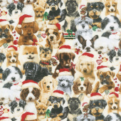 Fireside Pups - Stack of Puppies Cream Yardage