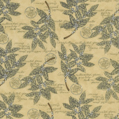 Brew - Coffee Plant Botanical Burlap Tan Yardage