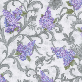 Lilacs in Bloom - Lilac Vine Scroll Light Grey Yardage