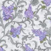 Lilacs in Bloom - Lilac Vine Scroll Light Grey Yardage