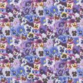 Flowers - Lovely Pansies Packed Pansies Purple Yardage