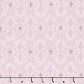 Totally Tulips - Pink & Grey Damask Pink Pearlized Yardage