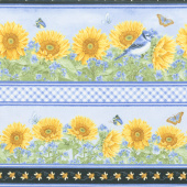 My Sunflower Garden - Stripe Blue Multi Yardage