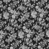 Eliza - Floral Toile Black Yardage