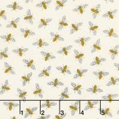 Bee Grateful - Buzz Parchment Yardage