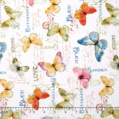 Rainbow Seeds - Butterflies White Yardage