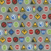 Traffic Jam - Signs Grey Fabric Yardage