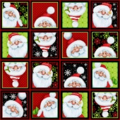 Jolly Ole' St. Nick - Santa Blocks Multi Yardage