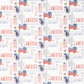 Liberty Lane - Patriotic Words Tossed Cream Yardage