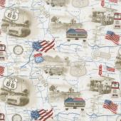All American Road Trip - Travel Map Tan Yardage