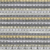 Material Girl - Measuring Tapes Gray Multi Yardage