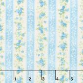 Cassandra - Stripe Flowers Sky Yardage
