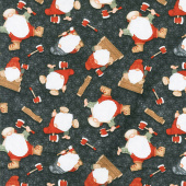 Timber Gnomies - Tossed Gnomes Black Yardage