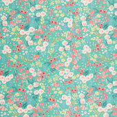Flower Market - Wallpaper Teal Yardage