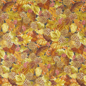 Autumn Beauties - Leaves Pine Cones Autumn Metallic Yardage
