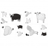 Farm Fresh - Farm Animals Black & White Panel