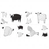 Farm Fresh - Farm Animals Black & White Panel