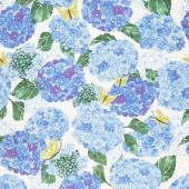 Cottage Bleu - Hydrangeas Cream Yardage
