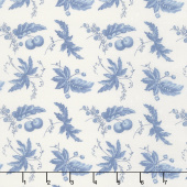 Regency Ballycastle Chintz 18th Century - Ballybofey Off White English Blue Yardage