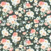 Gingham Gardens - Floral Charcoal Yardage