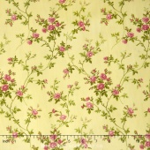 Poppies - Delicate Vine Soft Yellow Yardage