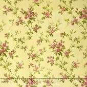 Poppies - Delicate Vine Soft Yellow Yardage