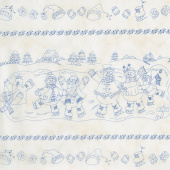 Roly-Poly Snowmen - Roly-Poly Stripe Natural Yardage