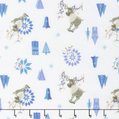Disney Olaf's Frozen Adventure - Olaf & Sven in White Yardage