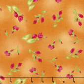 Paradise - Floral Buds Soft Orange Yardage