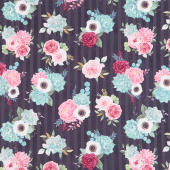 Botanical Oasis - Bouquets Black Yardage