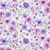 Amethyst Magic - Large Floral White Yardage