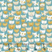 Woof Woof Meow - Here Kitty Kitty Turquoise Yardage