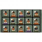 Happy Jacks & Friends - Jack & Friends Squares Soft Teal Flannel Panel